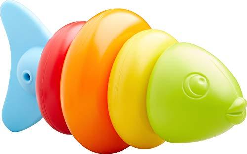 HABA 304907 - Steckspiel Fisch, Badespielzeug für Kinder ab 1,5 Jahren in Fischform, Steckspiel 15 cm in 5 Teilen für Badewanne und Planschbecken in vielen Farben ab 18 Monaten