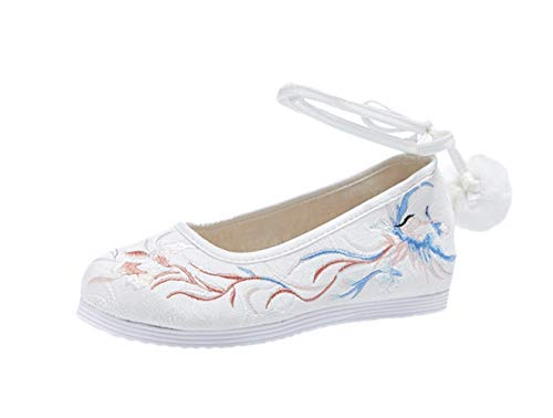 Liveinu Donna Mary Jane Ballerina con Laccio Cuneo Fiori Ricamate a Mano Ricamate Cinese Ricamo Scarpe Loafers Comode Slip On Scarpe Casual Flat Shoes Bianco 38 EU