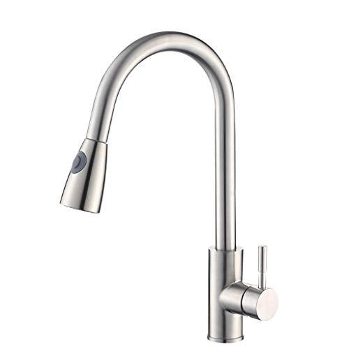 304 roestvrij staal Pull keukenkraan warm en koud Vegetable Basin Sink wastafel kraan kan worden gedraaid for het Schoonmaken