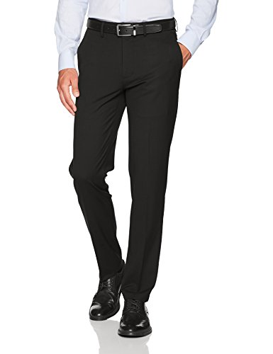 Haggar Men's J.M. Stretch Superflex Waist Slim Fit Flat Front Dress Pant, Black, 34Wx32L