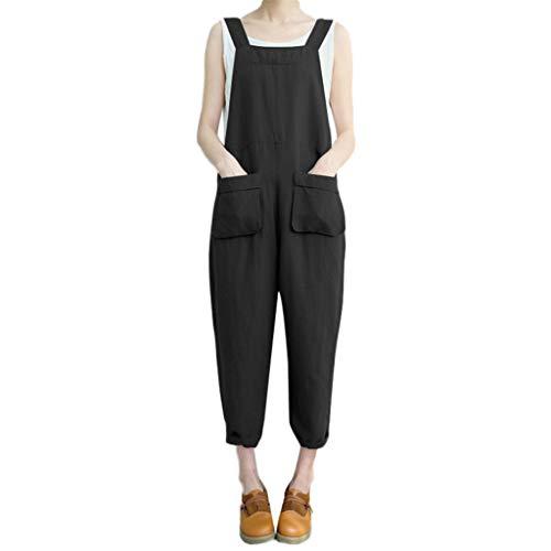 Manadlian Femmes Combinaisons, Bodysuit avec Poche Jumpsuit Bretelles Pantalon Ceinture Salopette Pantalon Casual Salopette Long Playsuit Party