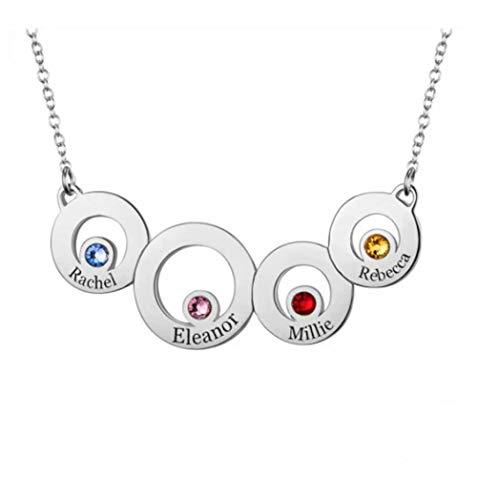 Collar con Nombre de Anillo Circular Personalizado Collar de Madre e Hija con 4 Piedras de Nacimiento y 4 Nombres para Mujeres