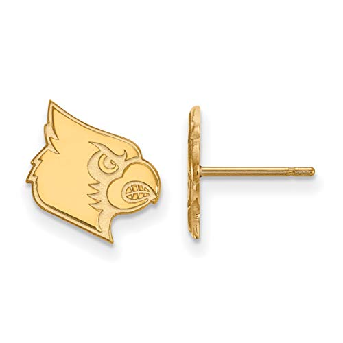 University of Louisville Cardinals Mascot Logo Post Earrings Gold Plated Silver 12x11 mm