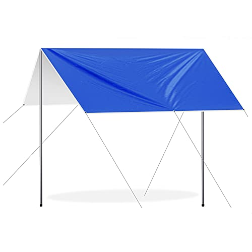 Toldos Vela Rectangulares 3x3m, Lona Suelo Camping Anti-UV con Palo de Aluminio y Clavos de Carpa, Tarp Impermeable para Senderismo Mochila Acampar Picnic Playa al Aire Libre, Verde