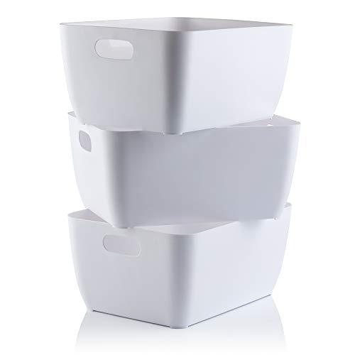 Storage Boxes | White Rectangular Box, Set of 3 Plastic Baskets For Kitchen, Home, Office & Bathroom