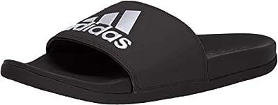 adidas Women's Adilette Comfort Slide Sandal, Core Black/Silver Metallic/Core Black, 6