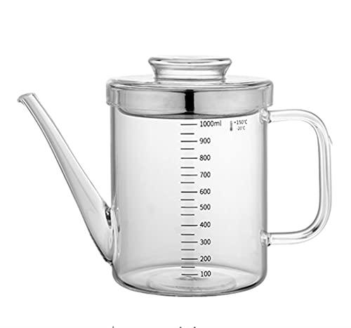 Dispensador de aceite Botella de filtro de grasa multifuncional con tapa antipolvo Prevención de fugas Lata de aceite de vidrio de borosilicato alto para freír en la cocina Cocina 1000ML