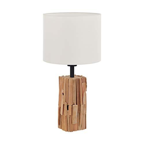 EGLO Tischlampe Portishead, 1 flammige Tischleuchte Modern, Hygge, Natur, Nachttischlampe aus Holz, Stahl und Textil, Wohnzimmerlampe in Naturfarben, schwarz, weiß , Lampe mit Schalter, E27 Fassung