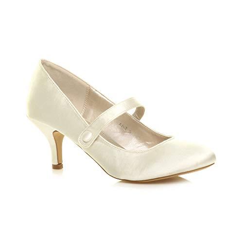 Ajvani Damen Hoher Absatz Mary Jane Formal Abend Party Ball Pumps Schuhe Größe 4 37