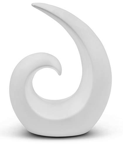 FeinKnick Stilvolle Skulptur aus Keramik - Moderne Dekoration in Weiß - Deko Spirale 20cm hoch - auch gut als Geschenk geeignet
