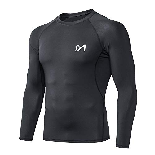 MEETYOO Men's Compression Shirt, Cool Dry Long Sleeve Underwear Top for Men, Sport Fitness Base Layer Black