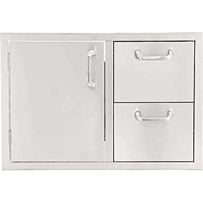 BBQGUYS Signature Series 30-Inch Stainless Steel Left-Hinged Access Door & Double Drawer Combo