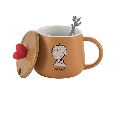 GLALAXY Conjunto de 4 Tazas de Tazas Tazas con Tapa y Cuchara a Juego, para té, Agua, coffce, Bebida (Color : 4style 3)