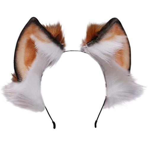 Team99 - Diadema de piel sinttica hecha a mano con orejas de lobo para el pelo de animales de peluche peludo, esponjoso, largo, anime, Lolita, cosplay, disfraz de fiesta