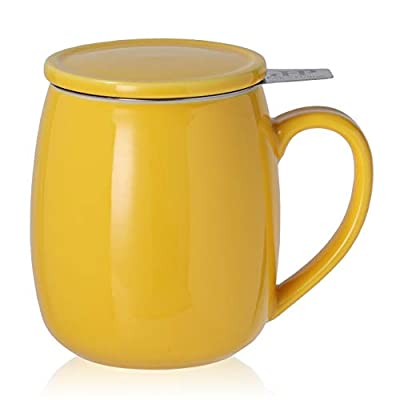 Peacehome Tea Cup Infuser Lid: 17.5 OZ Large Ceramic Tea Mug with Strainer & Cover for Steeping Cup of Hot Tea or Coffee - Fine Porcelain Infuser Tea Mug Set for Work Life Gift (Yellow)