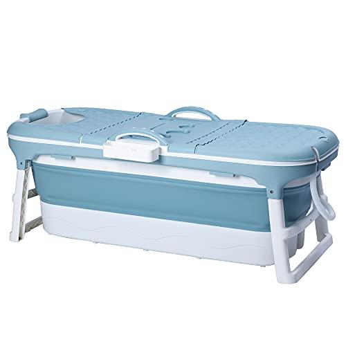 Schwänlein® Faltbare Badewanne Erwachsene 148cm | mit Seifenkorb, Nackenkissen, Fussmassageroller, Praktisch und Tragbar | Ideal für kleine Badezimmer (Blau, 148)