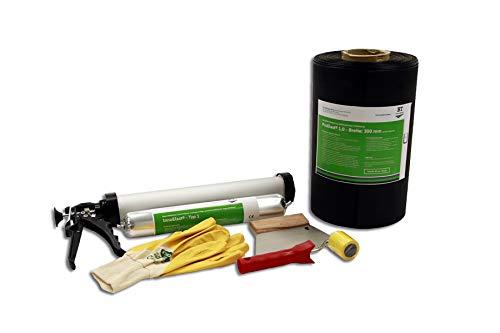 All-in-one Dichtungsset für Außen – ProElast®   1 Meter ProElast® EPDM-Folie (1 mm dick, 300 mm breit), 1 Schlauchbeutel InnoElast® Typ 1 (MS Polymer, 600 ml, grau)   Nachträgliche Abdichtung (1)