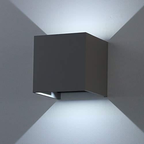 K-Bright 12W LED Wandleuchte Kaltweiß mit Einstellbar Abstrahlwinkel Wohnzimmer Schlafzimmer Wandbeleuchtung IP65 Dunkelgrau