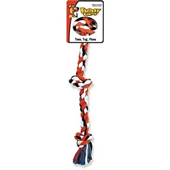 Mammoth Flossy Chews Cottonblend Color 3-Knot Rope Tug, Assorted Colors