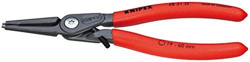 KNIPEX 48 31 J1 Pince de précision pour circlips pour circlips intérieurs d'alésage avec protection contre la distorsion grise atramentisée gainées en plastique antidérapant 140 mm