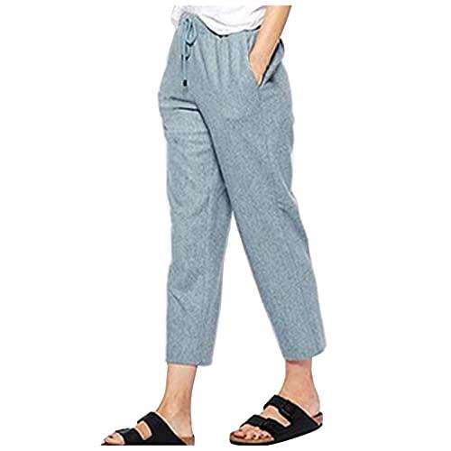Liably Pantalones sueltos para mujer, con bolsillos, para el tiempo libre, de un solo color, de cintura alta, elegantes, para jogging, adolescentes verde menta M