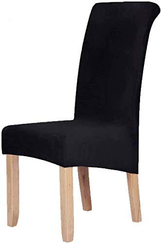 Homaxy Velvet Stretch Esszimmerstuhl Hussen - Spandex Plüsch Stuhlhussen Solide Großes Esszimmer Stuhl Protector Home Decor Set 4, Schwarz