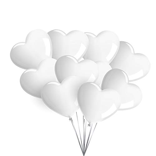 50 Premium Herzluftballons in Weiß - Made in EU - 100% Naturlatex und 100% biologisch abbaubar - Liebe Hochzeit Valentinstag - für Helium geeignet - twist4®