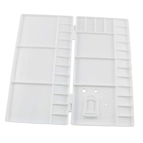 E-outstanding Painting Palette Box Artist Professional Plastic White Watercolor Folding Case Paint Tray with 33 Wells, Thumbhole and Brush Holders for Mixing Watercolor,Gouache, Acrylic and Oil Paint