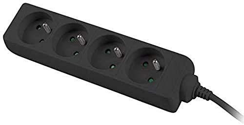 PremiumCord Steckdosenleiste 3m, 4-fach, Verlängerungskabel 230V, 4 Französische Steckdosen 45° gedreht, Qualität Mehrfachsteckdose mit Kindersicherung, Farbe schwarz ppa4-03bk ohne netzschalter