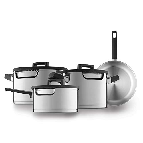 BergHOFF DOWNDRAFT - Batería de cocina de 7 piezas con vapor especial – Acero inoxidable – Para todo tipo de fuegos incluidos inducción