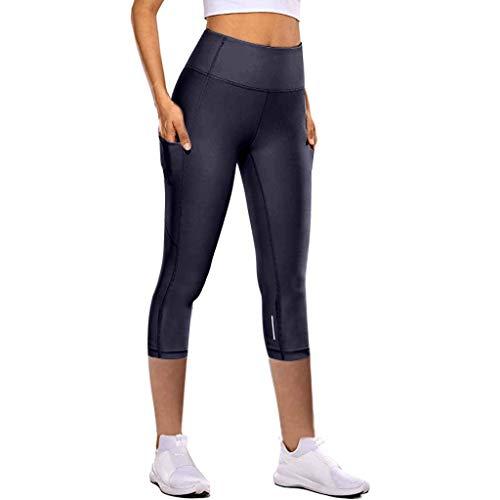 HDUFGJ Damen Yoga Hose 3/4 Sport Leggings Capri Leggings Hohe Taille Yogahose mit Taschen Pumphose Pluderhosen Sport Leggings Tights mit Taschen Streetwear30 W/29.1 L(Lila)