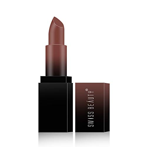 Swiss Beauty HD Matte Lipstick, Dark Brown, 3.5g