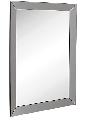 Large Framed Wall Mirror with Smoke Gray 3 Inch Angled Beveled Mirror -