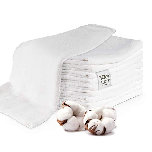 Johber Spucktücher Baby / Mulltücher Baby (10er Set) - Mullwindeln Spucktücher Baby Mädchen & Junge - 100% hautfreundliche Öko-Tex Standard 100 Zertifiziert