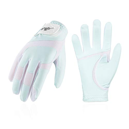 Vgo... Golfhandschuhe für Kinder von 4-5 J.A,PU-Palmen, weich und atmungsaktiv(1 Paar, Kid-XS, Hellblau, MF7991)