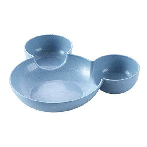 Platos llanos Placa de los niños divididos Lindo creativo de la cena de la cena de la placa del desayuno. Platos de cena de cerámica (Color : Blue mouse)