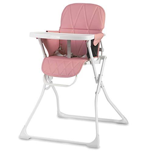 Silla alta para niños con bandeja extraíble, reposapiés, cinturón de seguridad, plegable, ahorra espacio, Rickids (blanco y rosa)