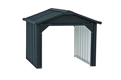 Duramax - Tosaerba in Metallo per Garage con Retro Aperto e Stazione di Ricarica della Batteria, in Acciaio zincato a Caldo, Resistente alle intemperie e ai Raggi UV, Colore: Antracite