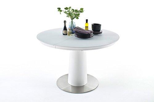 lifestyle4living Esstisch, Küchentisch, Esszimmertisch, Säulentisch, rund, oval, ausziehbar, Synchronauszug, weiß, reinweiß, Sicherheitsglas, Glas