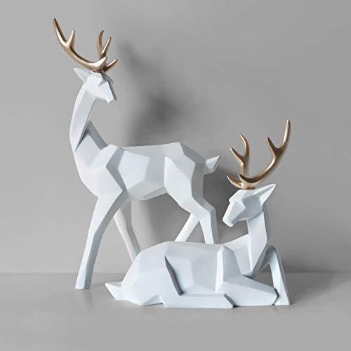 Estatua Ornamentos Esculturas Adornos Estilo Nórdico Creativo 3D Sólido Ciervo Adornos Resina Artesanía Decoración Decoración Escritorio Estatuas