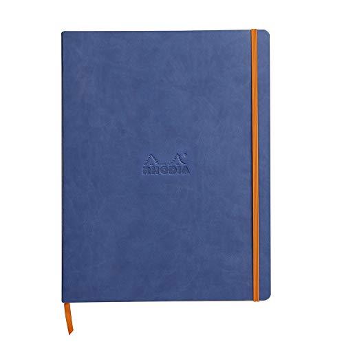 Rhodia 117708C Rhodiarama Notizbuch (mit weichem Deckel in Format DIN A4+, 220 x 297 mm, 80 Blatt, mikroperforiert, liniert, mit Gummizug, Lesezeichen, dehnbare Innentasche) 1 Stück, saphirblau