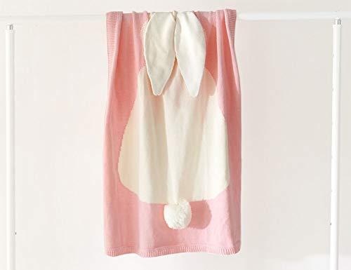 Mariisay Lovey Baby 100% Coton Tricoté Casual Chic Couverture Les Tout Petits Doux Couvertures Couvertures Couverture Avec Motif De Lapin Pour Poussette Voyage (Color : Rose, Size : 110x130Cm)