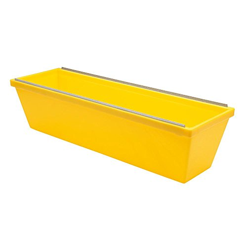 """Edward Tools Plastic Drywall Mud Pan with Steel Scraping Bar 12"""" - Lightweight Heavy Duty Plastic Without Added Weight - Scraping bar sheetrock mud pan for Quicker Knife Cleaning - Tapered Sides"""