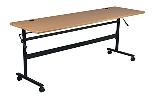 MooreCo Essentials Flipper Training Table 60x24 Teak Top Black Base