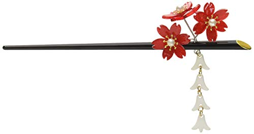 FINGER LOVE Acrylic Geisha Hair Stick with Red Acrylic Cherry Blossom Cluster and Tassel (Red)