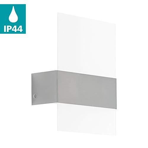 EGLO LED Außen-Wandlampe Nadela, 2 flammige Außenleuchte, Wandleuchte aus Edelstahl, Farbe: Silber, Glas: Weiß, satiniert, IP44