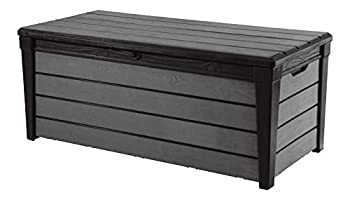 Keter 120 Gallon Resin Large Deck Brushwood Box for Patio Garden Furniture Outdoor Cushion Storage Pool Accessories and Toys Brown