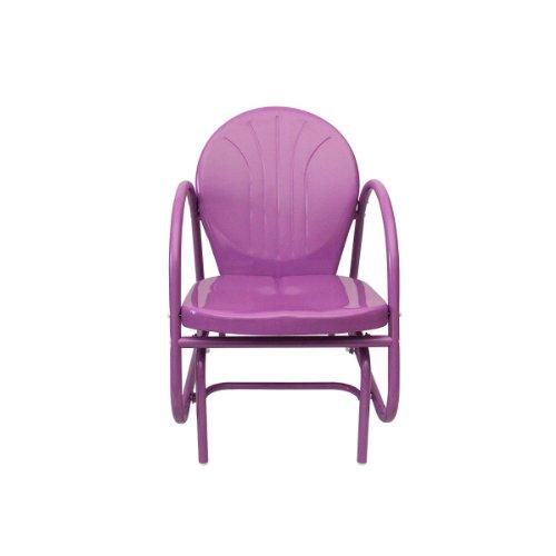 Rich Pacific 34' Purple Outdoor Retro Metal Tulip Single Glider Patio Chair