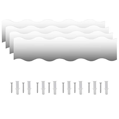 vidaXL 4X Espejos de Pared Vidrio Ondulado 110x23cm Decoración Casa y Hogar