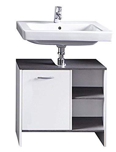 trendteam smart living Badezimmer Waschbecken Unterschrank Schrank California, 60 x 55 x 28 cm in Weiß, Absetzung Rauchsilber mit offenem Fach und viel Stauraum
